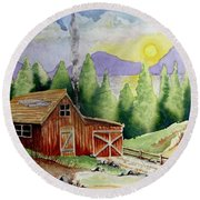 Wilderness Cabin Round Beach Towel