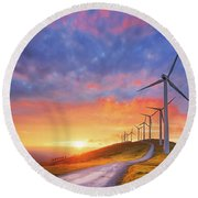 wind turbines in Oiz eolic park Round Beach Towel