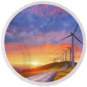 wind turbines in Oiz eolic park Round Beach Towel