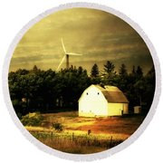 Round Beach Towel featuring the photograph Wind Turbines by Julie Hamilton