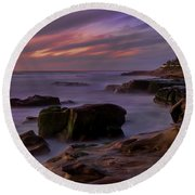 Windansea Beach At Dusk Round Beach Towel