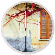 Round Beach Towel featuring the photograph Window And Red Vine by Silvia Ganora