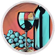 Wine Glass Bottle And Grapes Abstract Pop Art Round Beach Towel