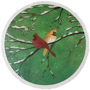 Winter Cardinals Round Beach Towel by Denise Tomasura
