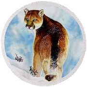 Winter Cougar Round Beach Towel