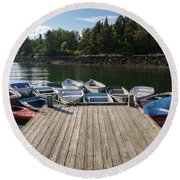 Winter Harbor Maine  Round Beach Towel by Trace Kittrell