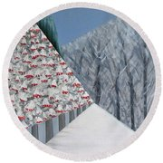 Winter Landscape With Rowan Trees Round Beach Towel