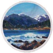 Round Beach Towel featuring the painting Winter Mountains Alaska by Yulia Kazansky