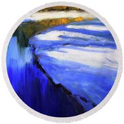 Round Beach Towel featuring the painting Winter River by Nancy Merkle