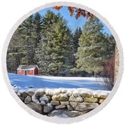 Winter Scene Round Beach Towel by Tricia Marchlik