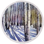 Winter Shadows Round Beach Towel