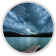 Round Beach Towel featuring the photograph Winter Storm Clouds by Thomas R Fletcher