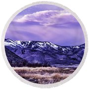 Winter Sunrise Round Beach Towel by Nancy Marie Ricketts