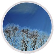 Winter Trees And Sky 3  Round Beach Towel