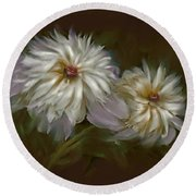 Withering Peony Round Beach Towel by Bonnie Willis