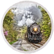 Wmsr Steam Engine 734  Round Beach Towel by Jeannette Hunt