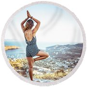Woman Meditating Outdoors Round Beach Towel