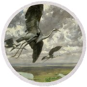 Wondrous Birds Round Beach Towel