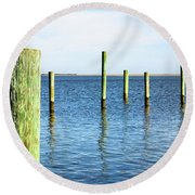 Round Beach Towel featuring the photograph Wood Pilings by Colleen Kammerer