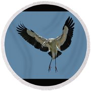 Wood Stork Round Beach Towel