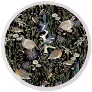 Woodland Edge Birds Round Beach Towel