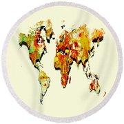 World Map 15 Round Beach Towel