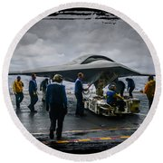 X-47b Uav Round Beach Towel
