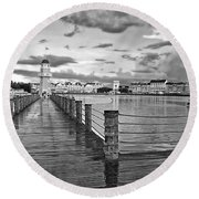 Yacht And Beach Lighthouse In Black And White Walt Disney World Mp Round Beach Towel