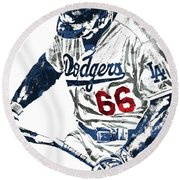 Yasiel Puig Los Angeles Dodgers Pixel Art Round Beach Towel by Joe Hamilton
