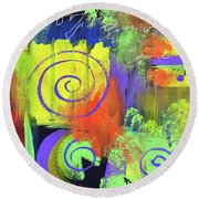 Yellow Abstract Round Beach Towel