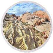 Yellow Brick Road In Valley Of Fire Round Beach Towel