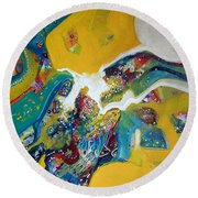 Yellow Harmony Round Beach Towel