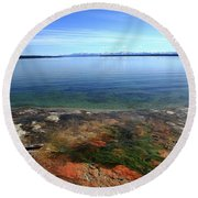 Round Beach Towel featuring the photograph Yellowstone Lake Colors by Frank Romeo