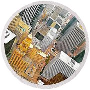 Yesterday's #birdseyeview Of #downtown Round Beach Towel