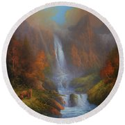 Yosemite Bridal Veil Falls Round Beach Towel by Joe Gilronan