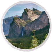 Yosemite Falls Round Beach Towel by Walter Colvin
