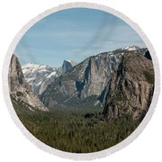 Round Beach Towel featuring the photograph Yosemite Valley Afternoon by Sandra Bronstein