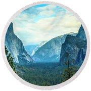 Yosemite Valley Round Beach Towel