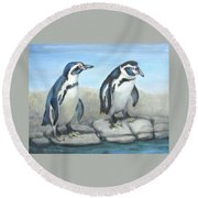 Round Beach Towel featuring the painting You First by Oz Freedgood