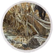 Round Beach Towel featuring the painting You Take The High Ridge by Alan M Hunt