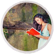 Young American Woman Reading Book At Central Park, New York, In  Round Beach Towel