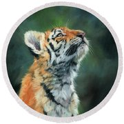 Round Beach Towel featuring the painting Young Amur Tiger by David Stribbling