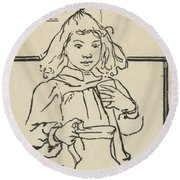 Young Girl With A Pitcher Round Beach Towel