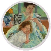 Young Mother Sewing Round Beach Towel
