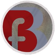 Your Name - B F Or F B Monogram Round Beach Towel