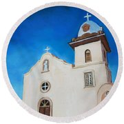 Ysleta Mission Round Beach Towel