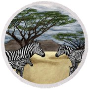 Zebra African Outback  Round Beach Towel