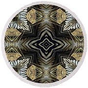 Zebra V Round Beach Towel by Maria Watt