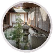 Zen Garden, Kyoto Japan Round Beach Towel