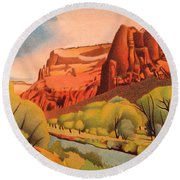 Zion Canyon Round Beach Towel by Dan Miller